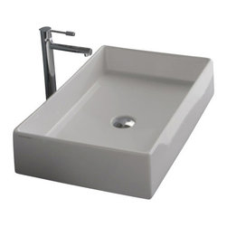 """Scarabeo - Rectangular White Ceramic Vessel Sink, No Hole - Modern design square white ceramic sink with no hole and all sides glazed. Sleek vessel bathroom sink without overflow. Trendy square ceramic sink for the bathroom counter top. Ceramic sink also fits nicely on a vanity counter. This porcelain sink is 23.6"""" x 15.2"""" and weighs approximately 31 pounds. From the Teorema Collection. Sink is made in Italy by Scarabeo. Scarabeo offers a 5 year limited warranty on all of its products."""