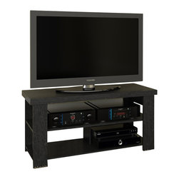 "Ameriwood - Ameriwood 47"" Hollow Core TV Stand in Black Ebony Ash - Ameriwood - TV Stands - 1194026PCOM - Looking for a Transitional TV stand with simple open shelving to display your home theater gear? This attractive TV stand from Ameriwood offers the perfect solution with its clean lines and handsome Black Ebony finish. Designed to hold flat-panel TVs up to 47"" the console supports up to 100 pounds of weight on the top shelf while offering plenty of room for your system components underneath. Two lower shelves feature an open design with space for your set-top box DVD player video game console or other systems. Simple yet stylish the Ameriwood Hollow Core TV Stand blends easily with virtually any style of decor and the black finish gives it a sleek modern look. Easy to assemble with household tools. Made in USA."
