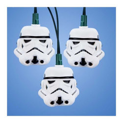 """Lamps Plus - Kids Ten Star Wars Storm Trooper Party String Lights - Add a little fun to your indoor or outdoor spaces with this set of ten string lights featuring Star Wars Strom Troopers. Perfect for entertaining or as an eye-catching accent in bedrooms and more these lights add personality and cheer. Includes four spare bulbs and green wire. Star Wars Strom Trooper string lights. 10-light string. For indoor and outdoor use. Includes ten 12v .08A clear incandescent bulbs. Includes 4 spare bulbs and 1 fuse. Includes 30"""" of green lead wire. 12"""" of spacing between lights.   Star Wars Strom Trooper string lights.  10-light string.  For indoor and outdoor use.  Includes ten 12v .08A clear incandescent bulbs.  Includes 4 spare bulbs and 1 fuse.  Includes 30"""" of green lead wire.  12"""" of spacing between lights."""