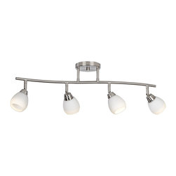 "ProTrack - Contemporary Pro-Track® 28"" Wide Satin Nickel Track Light - Brighten your home with this stylish contemporary 4-light track fixture. The wavy bar and ceiling canopy are made of brushed steel finish metal while the glass is a clean white. Swivel arms pivot and allow you to adjust the heads up to a 45 degree angle. 4-light satin nickel finish metal track light fixture. White glass heads pivot to 45 degrees. Includes four 35 watt GU10 bulbs. Glass is 3"" high and 3"" wide. Ceiling canopy is 5"" wide.  4-light satin nickel finish metal track light fixture.   White glass heads pivot to 45 degrees.   Includes four 35 watt GU10 bulbs.    Glass is 3"" high and 3"" wide.   Ceiling canopy is 5"" wide.  28"" wide.  9"" height."