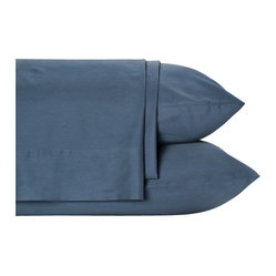 Nine Space - Bamboo Viscose Sheet Set, Queen, Navy - These luxurious linens provide a neutral foundation for you to layer on colors and textures. Made from bamboo viscose and organic cotton, the ecofriendly texture feels more akin to silk or cashmere. 300 thread count.