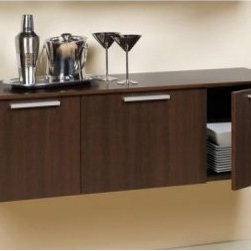 Coal Harbor Wall Mounted Buffet - Espresso - Maybe it's just added storage, or maybe you can incorporate the Coal Harbor Wall Mounted Buffet – Espresso as part of a full-room transformation centered around its modern style. However you use it, you'll appreciate the composite wood body and the espresso-toned laminate exterior. Three doors each open on self-closing hinges with a tug of the rectangular, matte-finished metal pull. Inside, ample storage lets you add organization, storage, or decor to your space. The innovative rail-hanging system gives you the option of hanging this hutch on any wall and at any height that works for you.About Prepac ManufacturingPrepac is a successful designer and manufacturer of functional and stylish RTA (ready to assemble) home furniture. They have been manufacturing state-of-the-art home furnishings and storage products in the heart of the forest-rich West Coast since 1979.To ensure that customers receive the highest quality products, Prepac's design, engineering, production, testing and packaging are all performed in-house. Each component of every product is carefully engineered to be produced with minimal handling, without compromising quality, function and value. Prepac's state-of-the-art materials management system tracks every component from cutting through to packaged goods, inventory support, and fulfillment to final delivery.Most of Prepac's RTA products are made from a combination of engineered woods. Engineered Wood is a mixture of high quality hard and soft wood materials, which generally come from the surplus of original lumber processing. These materials are bonded together with a synthetic resin, in a process under high heat and pressure to make a very stable, environmentally friendly product. The result is dense, strong panels, which are then laminated with durable, attractive finishes.