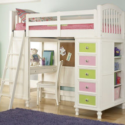 """BuildABear - Pawsitively Yours Twin Loft Bed with Desk and Storage - Features: -Includes bed ends, drawer / shelf base and back panel, desk base, guard rails and ladder. -Pawsitively Yours collection. -Constructed of hardwood and veneer. -Exclusive customizable hardware knob. -Bed ends features arched top crown and vertical slats. -Drawer base features five dovetailed drawers, adjustable wooden shelves and dust proof bottoms. -Back panel has cork board and is bored and slotted for 3/3 bed rail connection and requires a metal bed frame. -Desk base features two dovetailed drawers. -Bolt on guard rails and rail system. -Slat roll. -Ladder has hook. -Most drawers have changeable colors and ball bearing Full extension drawer. -Changeable hardware on drawer pulls. -Designed by kids for kids. -Dimensions: 68"""" H x 76"""" W x 24"""" D."""