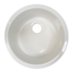 """Alfi Brand - 18"""" Round Undermount Fireclay Prep Sink - The 18"""" round undermount fireclay prep sink is designed as the perfect side sink to compliment the fireclay farm sinks. It is made of the same high quality durable fireclay and will have the exact same white color. Now you can enjoy the many benefits of a fireclay sink also as your secondary sink. Features: -Bar sink. -Finish: White. -Standard 3 ½ rear center drain and can be used with a garbage disposal. -Top edge of this sink is fully glazed so it can be installed as a drop in or undermount. -Glazing of the sink surface provides both durability and shine over long periods of time. -Raw material used, fine fireclay, allows for uniformity in the finish. -Sinks glaze is practically impervious to threatening bacteria from food preparation. -Stains do not penetrate the glaze and can be easily wiped away. -Acids and chemical cleaners have virtually no adverse effect on sink. -Coffee stains, cigarette burns, and other daily occurrences that would adversely effect kitchen sinks made from other materials, are easily wiped away on fireclay sinks. -Sinks are not adversely affected by scratches from pots, pans, knifes, etc. -Thermal Shock (very hot or very cold water) has no effect whatsoever on the sink. -For your countertop cut out template we recommend that you have the actual sink on location for tracing. -Required to support the sink from beneath even if installed as a drop in. -One year warranty against manufacturing defects. -Ten year warranty against fading/staining of the glaze. -All cracks and chips due to misuse, freight damage, and improper installation; whether performed by a plumber, contractor, service provider, or unqualified person, will void the warranty. Specifications: -Inner bowl dimensions: 15 3/4"""" x 15 3/4"""" x 7"""". -Overall dimensions: 8"""" H x 18.25"""" W x 18.25"""" D."""