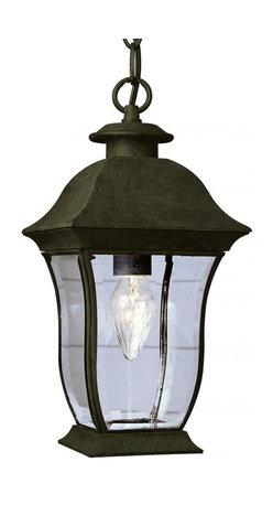 Joshua Marshal - Two Light Black Clear Beveled Curved Rectangle Glass Hanging Lantern - Two Light Black Clear Beveled Curved Rectangle Glass Hanging Lantern