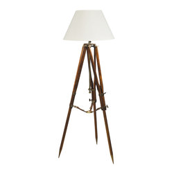 "Authentic Models - 1920s Replica Campaign Tripod Lamp - Tripods like this one were used by British surveying expeditions in the twenties, mapping the deserts and hills of Yemen. Metal and wood, combined with saddler's leather straps, obviously a combination of quality and form follows function. Just place it as your floor centerpiece in your home, office or bar and it will lighten up while adding a touch of elegance!               * Dimensions: 31 x 31.5 x 50.5"".       * Made of Sheesham wood"