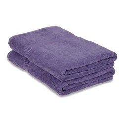 Superior 600GSM Egyptian Cotton 2-Piece Royal Purple Oversized Bath Towel Set - Superior Egyptian Cotton 2pc Royal Purple Oversized Bath Towel Set
