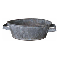 Zinc French Basin - French zinc bowl or basin, a very collectible rustic country item for interior decor or outside the home. French zinc basins in this size, were once commonly used for preparing vegetables and washing smaller items of linens and clothing in French country farm houses. Also used for giving feed and water to the family animals or for planters.