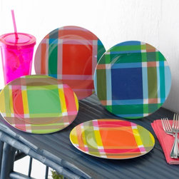 Madras Plaid Plates - Add some preppy picnic style to your table with these vibrant plaid melamine dishes.