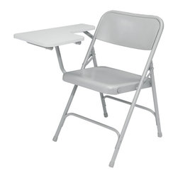 National Public Seating - Premium Folding Chair - Set of 2 - Set of 2. Unique full size double contoured square back and waterfall seat. MDF Thermally fused laminate board. 0.63 in. thick high pressure right tablet arm. Fortified with dual brackets under tablet. 18-gauge steel tubing. Two U-shaped double riveted cross braces. V-shaped stability plugs. Double hinges on side for added stability and durability. Steel contain 30-40% of post-consumer waste (recycled). Meets ANSI and BIFMA standards. Warranty: Five years for material. Weight capacity: 480 lbs.. 20.5 in. W x 28.75 in. D x 29.5 in. H