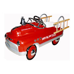 """Fire Truck Comet Pedal Car - Fire, Fire ! ! ! """" Jump In Ring The Bell And Start Pedaling. Their Imaginations Will Be Ready To Save The Day...   Features:  *Working Bell *Removable Ladders *Wrap Around Padded Seat *Chrome: Hub Caps, Steering Wheel, Port *Holes, Windshield, Hood Ornament, Front *Insignia And Headlights *Custom Water Transfer Graphics *Sealed Bearings In Wheels And Pedal Crank  *High Traction Tires  *Non Slip Pedals *Lead Free Powder Coat Paint *Five Position Adjustable Pedal Assembly *Child Safety Tested  *Ages 3-5  *(Back Of Seat To Extended Pedal 19"""" To 24"""")  *Dimensions: 34"""" L X 18"""" W X 19"""" H  *Minimal Assembly Required *Shipped Insured *Brand New!"""