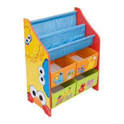 Adarn Inc - Children Yellow Blue Sesame Street Book & Toy Multi Bin Storage Organizer - The Sesame Street Book and Toy Organizer is perfect for any room in your home and is perfect for keeping your little ones' toys and reading materials organized in style. Makes a great gift and coordinates perfectly with other Sesame Street items. Complements other items sold separately online by children's products. With a brand new color scheme, and six uniquely sized storage boxes, this organizer makes cleaning up easy and exciting. Meets all JPMA safety standards. Some assembly required.