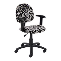 Boss Chairs - Boss Chairs Boss Zebra Print Microfiber Deluxe Posture Chair w/ Adjustable Arms - Thick padded seat and back with built-in lumbar support. Waterfall seat reduces stress to legs. Adjustable back depth. Pneumatic seat height adjustment. 5 star nylon base allows smooth movement and stability. Hooded double wheel casters. Comes in durable easy to clean microfiber. With adjustable arms.
