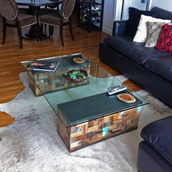 Custom Coffee Table Base, Reclaimed Boat Wood - These two rectangular coffee table bases were made to size for a client of Impact Imports in Philadelphia, Pennsylvania.  With a nice, thick glass top and no bases, the White's wanted something simple, yet unique for their living room.