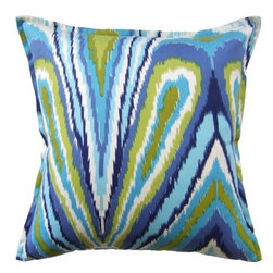 Outdoor Throw Pillow Trina Turk Peacock Fabric - Here's a lively indoor and outdoor throw pillow in fabric by Trina Turk. Add a splash of color to your living room sofa, bedroom or favorite accent chair.