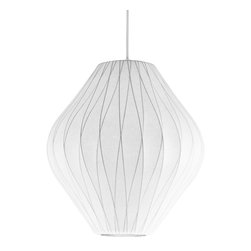 Modernica - Bubble Lamp, Pear Criss Cross, Medium - Taking its cues from midcentury design, this handcrafted ceiling pendant features a white crisscross shade, six feet of white cord and a brushed-nickel ceiling plate. Flank your bed with two or line three or more over your kitchen island for a little earthy, organic enlightenment.