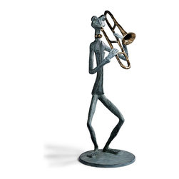 """Frontgate - Trombone Frog Statue - Perfect individually, or purchase all three to complete your musical trio. Great addition to any of our other garden frogs and characters. Frontgate exclusive. Durable cast aluminum. Protective powdercoating protects them from the elements. Strike a chord with our fanciful Frog Band statues that lend whimsy each evening you entertain outdoors. Each sand-cast aluminum sculpture exceeds 4 ft. in height. A hand-applied verdigris finish and bronze accents on instruments and bow ties handsomely adorn each amphibian. . . . . . Each base measures 18"""" dia.. Suitable for outdoor or indoor use. Wipe clean with a soft, damp cloth."""