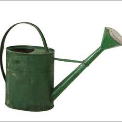 PB Found Watering Can - This vintage galvanized steel watering can has a charming color and a classic shape.