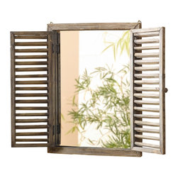 Pier Surplus - Rusic Shuttered Mirror with Wooden Frame  #HD223944 - The shuttered window design of this mirror gives a charming, rustic feel to any room, making it a perfect match for areas decorated in a shabby-chic or cottage style. You will love its casual elegance and distressed wood finish. Made from hardwood, the frame surrounds a single mirror pane that will delight guests. Perfect for bathrooms, guest rooms, and other areas of your home with emphasis in on subtle detailing.