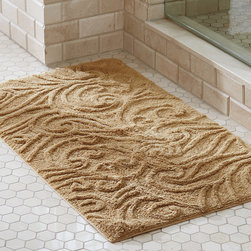 "Frontgate - Augustine Sculpted Scroll Bath Rug - .45"" thick. Made of 100% combed cotton yarns. Features a nonskid backing. Cotton bath rugs acquire a more lush texture with every wash. Offered in numerous colors to match your bathroom decor. The embossed scroll design of the plush, absorbent Augustine Sculpted Scroll Bath Rug adds more than just European elegance. The raised ridges of substantial combed cotton, nearly -1/2"" thick and woven to 1,930 gsm, also provide a pleasing texture underfoot.. . . . . Latex-treated back provides secure footing. Machine wash. Imported."
