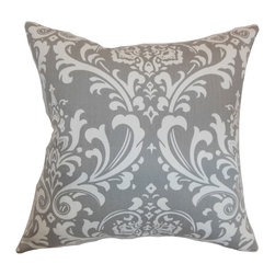 "The Pillow Collection - Malaga Damask Pillow Storm 18"" x 18"" - Large and pleasing damask pattern adorns this pretty throw pillow. The detailed look of this accent pillow makes it a perfect statement piece for the living room or bedroom. This square pillow features a storm gray background and white hued print. Place this 18"" pillow on top of your bed, sofa or seats for a rich character. Made from 100% soft cotton fabric. Hidden zipper closure for easy cover removal.  Knife edge finish on all four sides.  Reversible pillow with the same fabric on the back side.  Spot cleaning suggested."