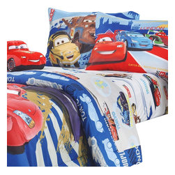 Jay Franco and Sons - Disney Cars Track Burn Twin-Single Bedding Sheet Set - Features: