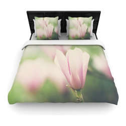 "Kess InHouse - Laura Evans ""A Pink Magnolia"" Pink Green Fleece Duvet Cover (Queen, 88"" x 88"") - You can curate your bedroom and turn your down comforter, UP! You're about to dream and WAKE in color with this uber stylish focal point of your bedroom with this duvet cover! Crafted at the click of your mouse, this duvet cover is not only personal and inspiring but super soft. Created out of microfiber material that is delectable, our duvets are ultra comfortable and beyond soft. Get up on the right side of the bed, or the left, this duvet cover will look good from every angle."