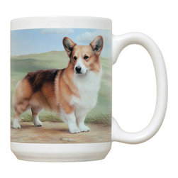 385-Corgi-Path Mug - 15 oz. Ceramic Mug. Dishwasher and microwave safe It has a large handle that's easy to hold.  Makes a great gift!