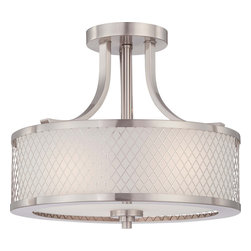 Nuvo Lighting - Nuvo Lighting 60-4692 Fusion 3-Light Semi-Flush Fixture with Frosted Glass - Nuvo Lighting 60-4692 Fusion 3-Light Semi-Flush Fixture with Frosted Glass