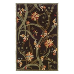 """LR Resources - Indoor Area Rug: Transitional Brown 7' 9"""" Round Plush - Shop for Flooring at The Home Depot. Bee Balm and Star Flowers Float Amongst Oversized Slender Leaves on a Solid Background. Hand-Hooked Loop Adds Texture to the Beauty of the Design. This area rug provides style and the durability to stand-up to your busiest homes. Order this beautiful area rug today."""