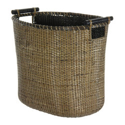 Oriental Furniture - Rattan Laundry Hamper with Pole Handles - This imported split rattan basket features a refined antique finish and stylish wooden rod handles. Its artfully crafted oval design makes this natural fiber basket ideal for any number of practical and decorative uses inside and out of the home.