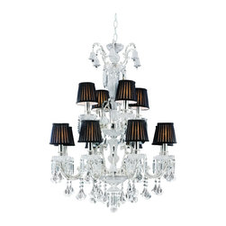 Trans Globe Lighting - 12 Light Chandelier - Richly romantic 2 tier candelabra chandelier with crystal bell accents at top. Diamond cut and braided chassis with crystal bobeche candle cups. Finest crafted detail. Pleated black voile shades over hardback fabric Crystal bell accents at top