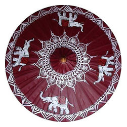"""Oriental-Decor - Elephant Majesty, 35"""" Diameter Fashion Umbrella - Set off in a demure shade of maroon, four grand elephants are shown in all their grandeur in this hand-crafted umbrella. Aptly named Elephant Majesty, this prime example of Asian beauty makes the perfect collector's item for anyone who adores the treasures of the Orient. Undisputed when it comes to size and splendor, elephants have long since enthralled those who value wisdom and controlled strength. The muted maroon shade and the contrasting white lines around the elephants reflect the simple but arresting features of most Asian art. This umbrella should be your chosen bet for a laid-back Sunday brunch at a beach-front café;? with a hot date with whom you will share the most interesting stories. And the umbrella will surely be a conversation piece. The Elephant Majesty is also waterproof so it can be the first and only thing to use during those moments you want to take a walk in the soothing rain. Offer it as a house-warming gift and the receiver will surely remember you each and every time they have an occasion. Available in two different diameters (28"""" and 35""""), it is a stunning addition to any location. What is not to love with our Elephant Majesty fashion umbrella?"""