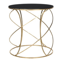 Safavieh - Cagney Accent Table - The dynamic curves and chic finish of the Cagney Accent Table make it a polished addition to any d�cor. Crafted with a gold-finish iron base and black glass tabletop, it brings modern elegance to any d�cor. It is an ideal spot for a cocktail, small lamp or priceless antique.