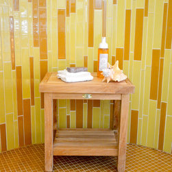 Solid Teak Stool for the Bathroom and Spa - Solid Teak Shower Stool. Perfect to use in the shower or use as a side table in the bathroom. The stool also compliments teak outdoor furniture very nicely.