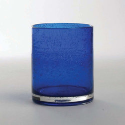"Tag Everyday - Bubble Glass Double Old Fashioned - Set of 6 - Handmade. Straight-sided design. 15oz capacity. Dishwasher safe. 4""h x 3.5"" diameter Color: Cobalt. 4 in. H x 3.5 in. dia (15 oz. capacity)"