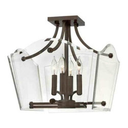 """Hinkley - Hinkley 3001OZ Wingate 16"""" 4 Light Semi Flush Ceiling Light in Oil Rubbed Bronze - Wingate offers tradition with a twist: Clear, floating beveled glass panels surround understated cast round candle cups and candle sleeves, giving it a modern yet classic style.Bulbs Type: Candelabra Collection: Wingate Energy Star Compliant: No Finish: Oil Rubbed Bronze Glass: Clear Beveled Glass Panels Height: 15-1 4 Material: Steel Number of Lights: 4 Socket 1 Base: CANDLE Socket 1 Max Wattage: 60 Style: Traditional Voltage: 120 Wattage: 60 Weight: 14 Width: 16"""