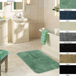None - Plush Non-skid 24 x 40 Bath Rug (Set of 2) - This bath rug set includes two plush nylon bath rugs that come in a variety of eye-catching colors from spring green to java. These non-skid bath rugs are easy to clean and highly absorbent to make bathing and showering as relaxing as possible.