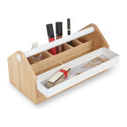 Foundation Box - Store the tools you use to enhance the gorgeous person that is you with this nuanced take on a toolbox. A wood and metal caddy with open and closed compartments designed to aid the DIY makeup artist, the neat freak who likes her products in order, and the functionally inspired with an eye for whimsical d̩cor.