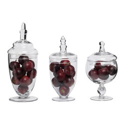 Set of 3 Glass Apothecary Jars - *** FREE SHIPPING !!! ***