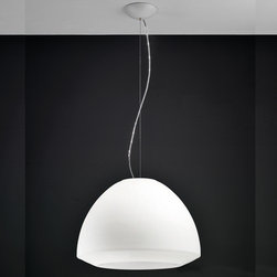 AXO Light - AXO Light | Kudlik 50 Suspension Light - Design by Manuel Vivian, 2011.Kudlik 50 Suspension Light from Axo Light, features a white acid-etched blown glass shade with white varnished metal support.