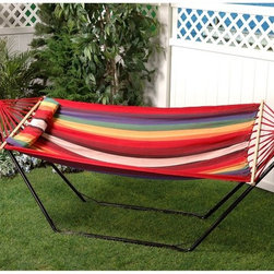 Bliss Hammocks - Bliss Hammocks Oversized Fabric Hammock with Spreader Bar and Pillow - BH-404 - Shop for Hammocks from Hayneedle.com! Go ahead and give in to the urge to let go of daily stress within the welcoming embrace of the Bliss Hammocks Oversized Fabric Hammock with Spreader Bar and Pillow. Crafted of strong breathable colorfast cotton and polyester fabric this hammock offers full body comfort complete with included 40-inch wide pillow. This pillow stays in just the right place with Velcro straps that attach to the hardwood spreader bar. Hang easily on a stand or even between your two favorite palm trees with the included S-hooks and galvanized chain. Do nothing on the beach lake or backyard. That's kind of the point. About Bliss HammocksWith four years of wholesale business experience Bliss Hammocks has successfully created and marketed a unique line of hammocks hammock chairs and outdoor recreational products that offer a winning combination of top-quality workmanship and state-of-the-art packaging and design. With a full line of hammocks drawing interest from an assortment of industries and markets Bliss hammocks has gained recognition in spa and resort shops drug store chains gift shops sporting good chains and more. Quality is of utmost importance. Bliss Hammocks products are personally inspected for quality to ensure each one is in line with every customer's high expectations.
