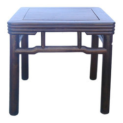 "Golden Lotus - Chinese Simple Square Wood Round Legs Table - Dimensions: 21"" x 21""x h19.5"""