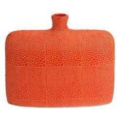 "Imax Worldwide Home - Isla Small Vase - Bold orange color finished in a crackle glaze revitalizes rooms and is reminiscent of reptile patterns on this small vase.; Materials: 100% Ceramic; Country of Origin: China; Weight: 3.3 lbs; Dimensions: 9.5""H x 11.5""W x 3.5"""