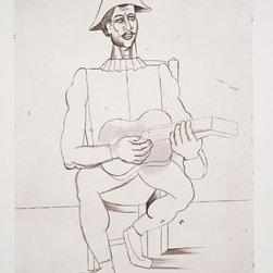 Pablo Picasso Estate Collection Arlequin Moustachu a la Guitare Hand Signed - PABLO PICASSO ESTATE COLLECTION
