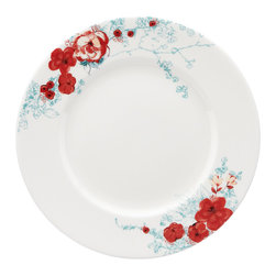 Lenox - Lenox Chirp Floral Dinner Plate - Transform your table with this floral trimmed bone china Lenox dinner plate. Thanks to the chic styling of the Chirp Floral pattern and the strength of its chip-resistant design,this versatile plate is perfect for your dining table or picnic table.