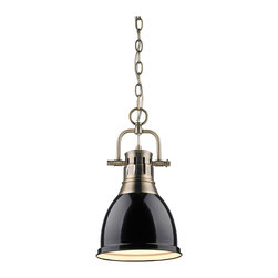 Golden Lighting - Golden Lighting 3602-S-AB-BK Duncan 1 Light Mini Pendants in Aged Brass - Contemporary Style with industrial feel. Simple, classic silhouette. Fixture body is available in Chrome, Aged Brass, and Pewter. Variety of plated and painted metal shade finishes. Wide, open-bottom shades. Eye-catching accent that can be used individually or arrayed in a group. Creates a soft glow for task lighting. Allows for greater open area around the fixture.