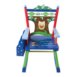 Levels of Discovery - Levels of Discovery Owls Rocker - Cut-out tree backrest with special message: Look Whoos Reading Now! Poem on seat: Give me a book and a quiet nook cuz Reading is a hoot! Sturdy attached wooden rack keeps books up and off of the floor. Photo greeting card is included so child can say THANK YOU in a special way. Includes understamp beneath the seat that customer can personalize. Dimensions: 23 L x 16 W x 28 H. Height of seat: 12.5. Book rack dimensions: 11.25 L x 2.25 W x 8.5 H