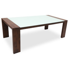 Modern Dining Tables Clarkson Cocoa White Glass Dining Table