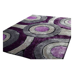 Rug - ~5 ft. x 7 ft. Shaggy Purple with Grey Living Room Area Rugs , Hand-tufted - Living Room Hand-tufted Shaggy Area Rug